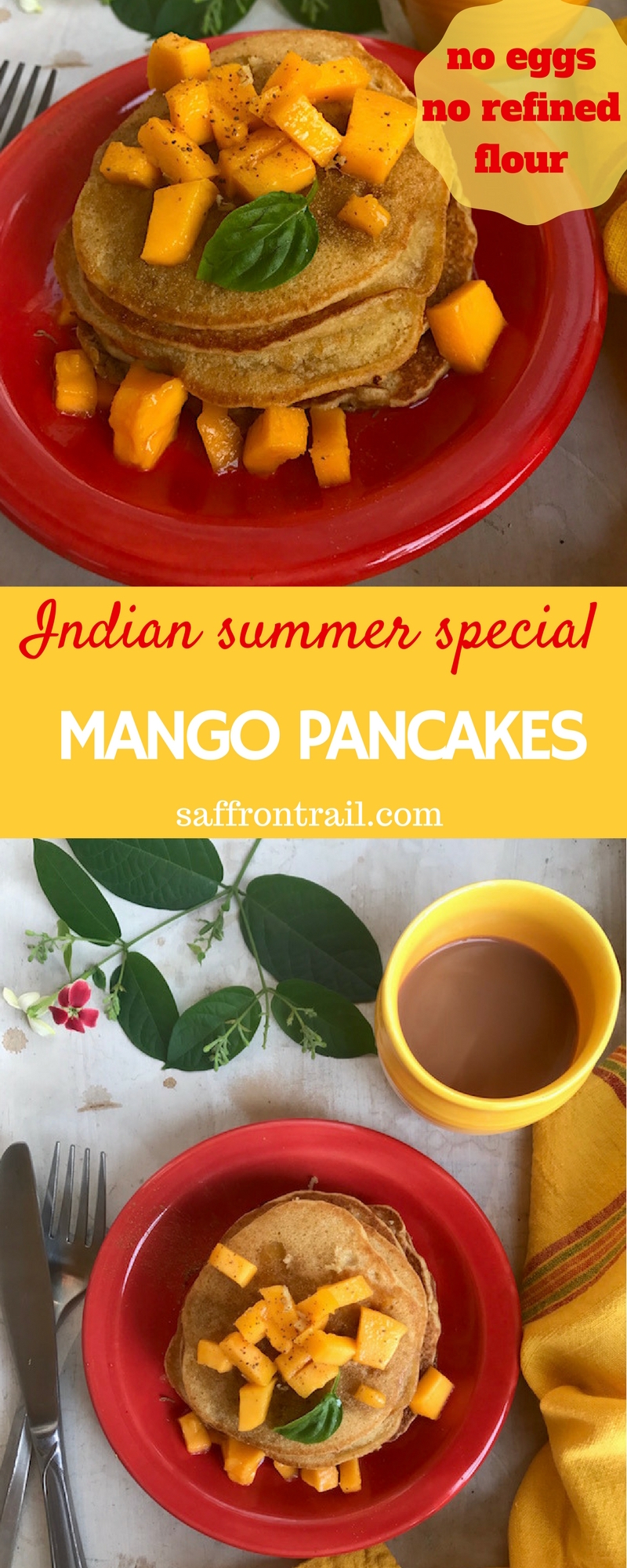 Whole wheat flour, juicy ripe mangoes, with a touch of spice from ginger, these mango pancakes are the best summer breakfast