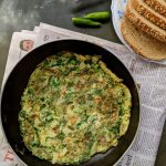 Spinach Omelette with Green Garlic and Chillies