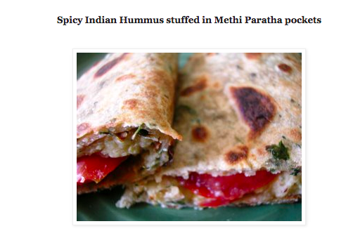 Spicy Indian Hummus in Methi paratha pockets