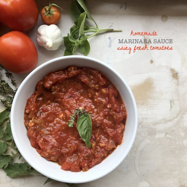 Homemade Marinara Sauce using fresh tomatoes