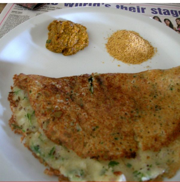 Onion Rava Dosai with Spicy Tomato Chutney
