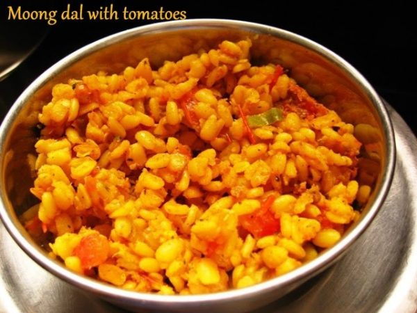 Tomato and mint flavoured moong dal