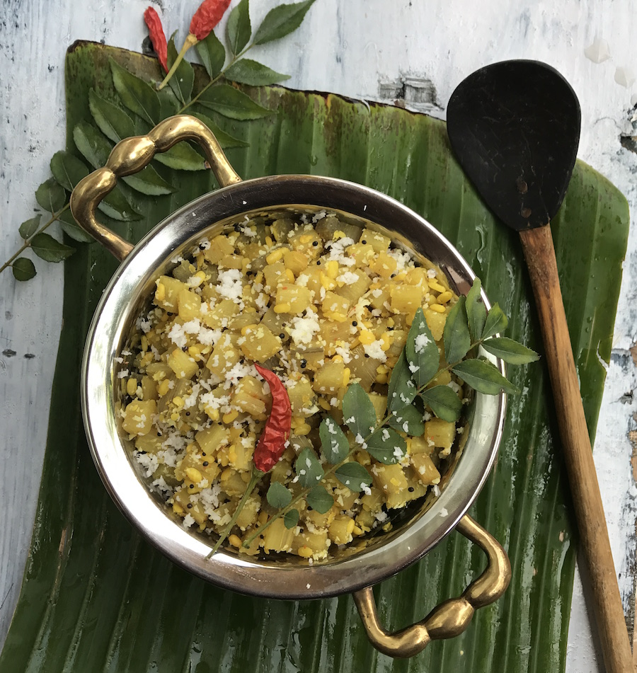 banana-stem-curry-vazhaithandu-moong-dal-recipe