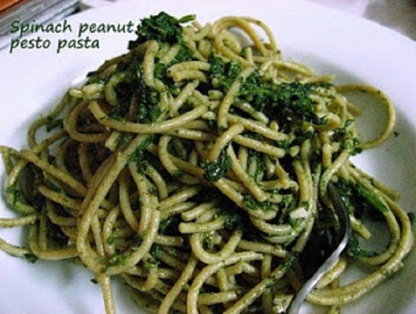 Spinach Peanut Pesto Pasta