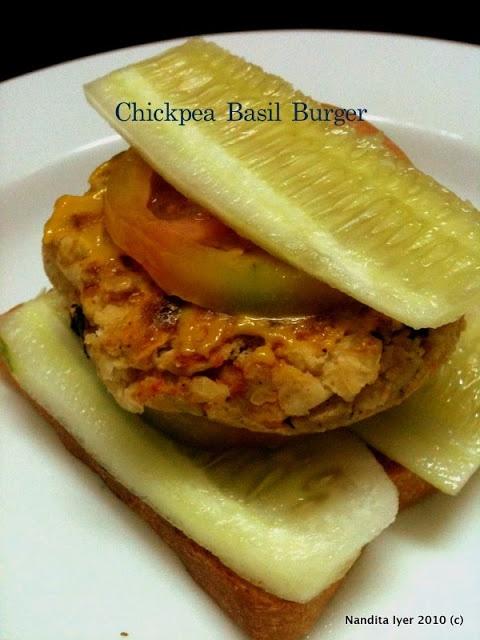 Sunday night dinner - Chickpea Basil burgers