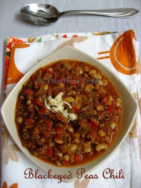Vegetarian chili made with black eyed peas and a Mexican Pizza