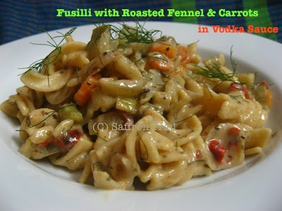 Fusilli with roasted fennel and carrots in vodka sauce