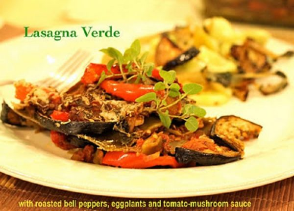 Lasagna Verde with roasted vegetables and tomato-mushroom sauce