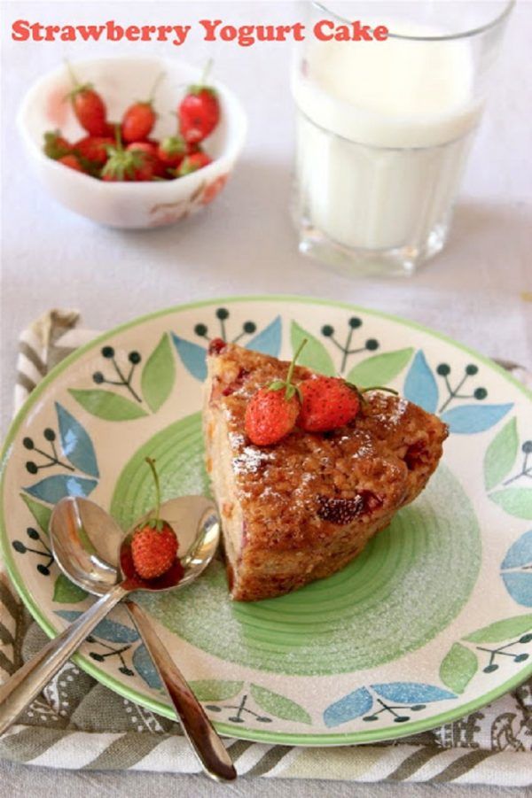 On growing strawberries and recipe for Eggless Strawberry Yogurt Cake