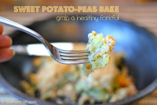 Savoury sweet potato bake with a peanut crumb