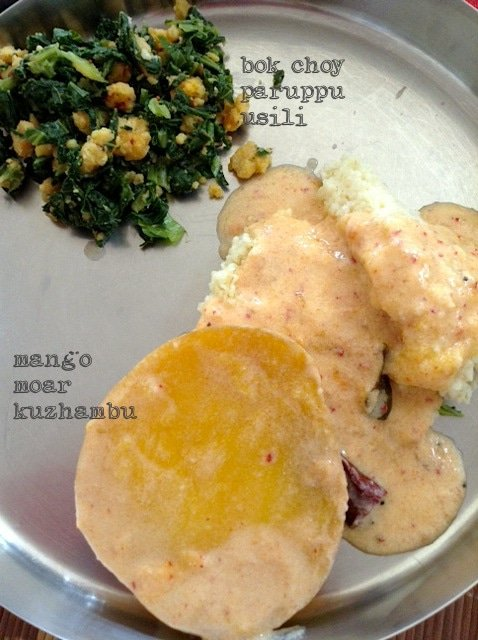 My grandaunt's recipe for Mango Moar Kuzhambu : Tamil style Ripe Mango Kadhi