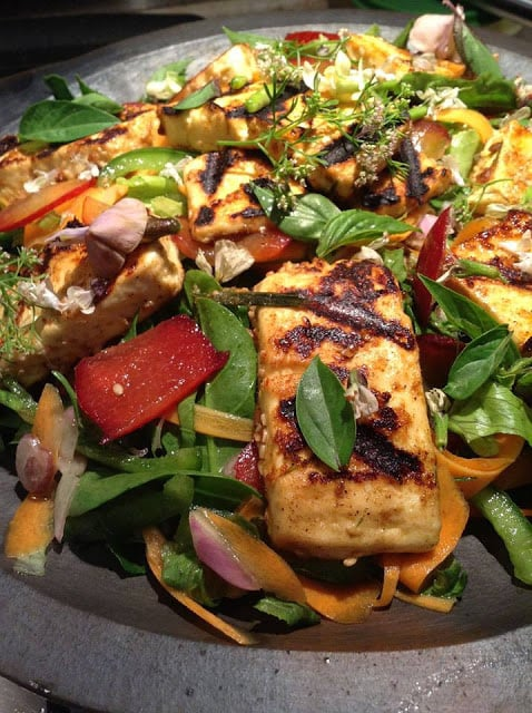 Grilled paneer salad with edible flowers