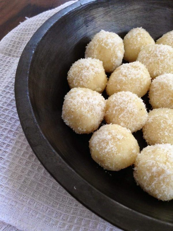 Recipe for Instant Coconut Laddoo   Coconut Fudge - 3 Ingredients, 2 Minutes