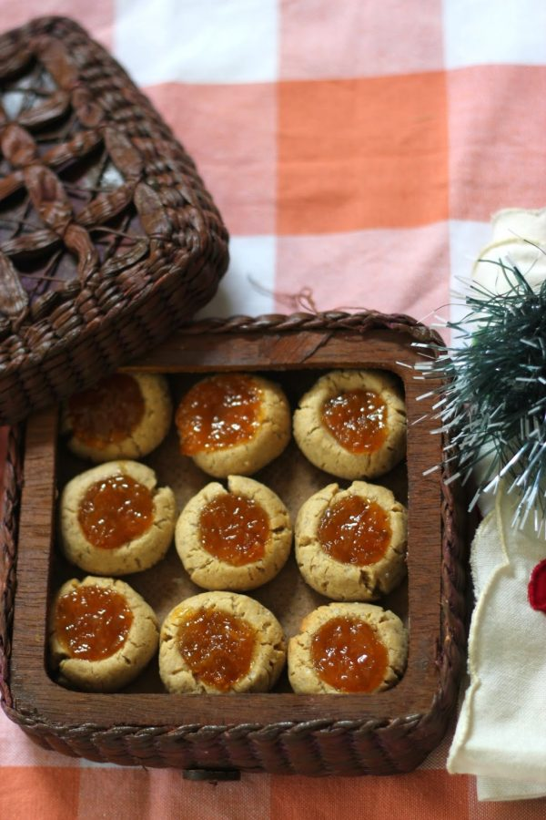 Xmas Special Spiced Thumbprint Cookies with Orange Compote