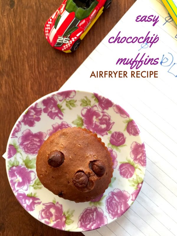 Eggless Chocolate Chip Muffins in Airfryer