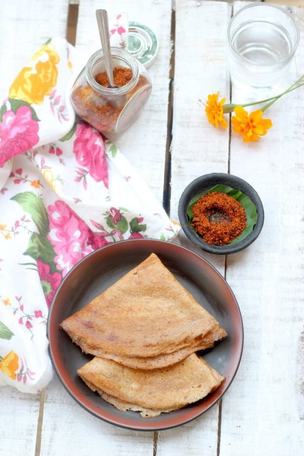 Red Rice Dosa : Easy method, no grinding required
