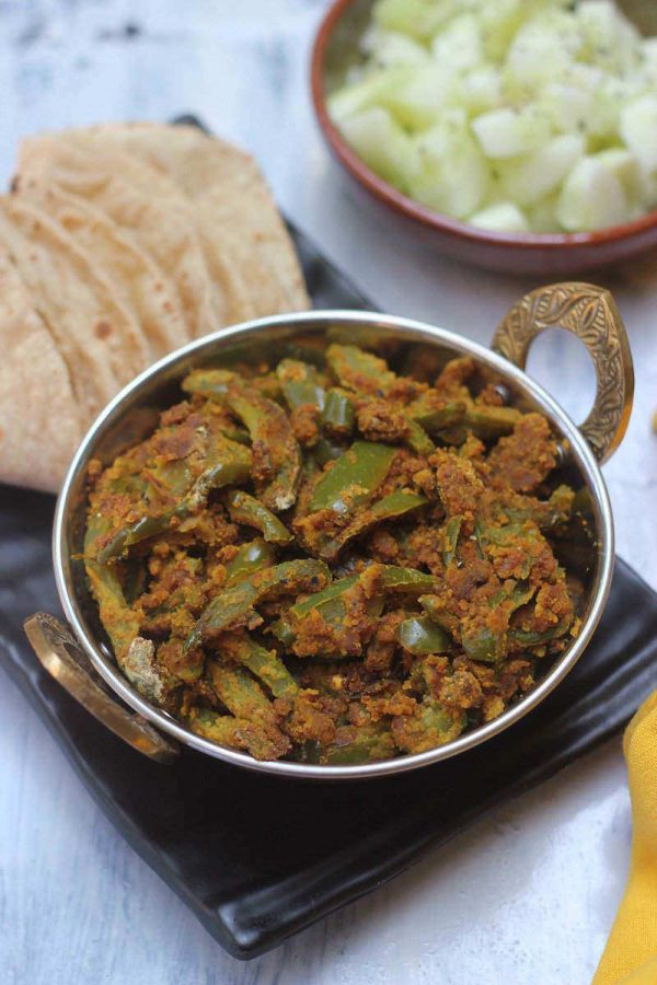 Shimla Mirch Besan Subzi | Bell pepper & Chickpea Flour Dry Curry