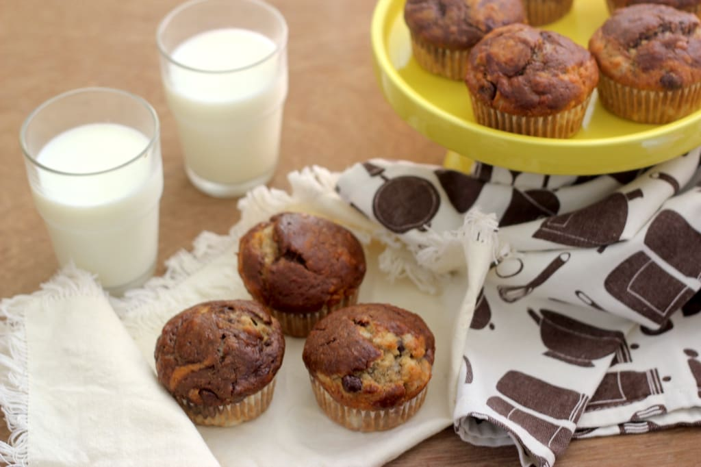 Banana Muffins with Choco Swirls