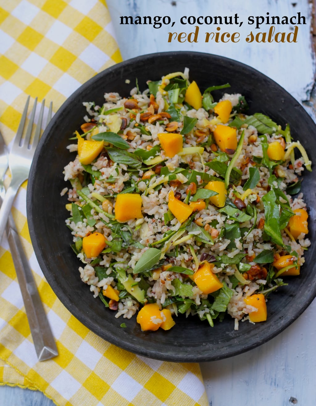 Cold Rice Salad With Mango And Coconut Recipe Saffron Trail
