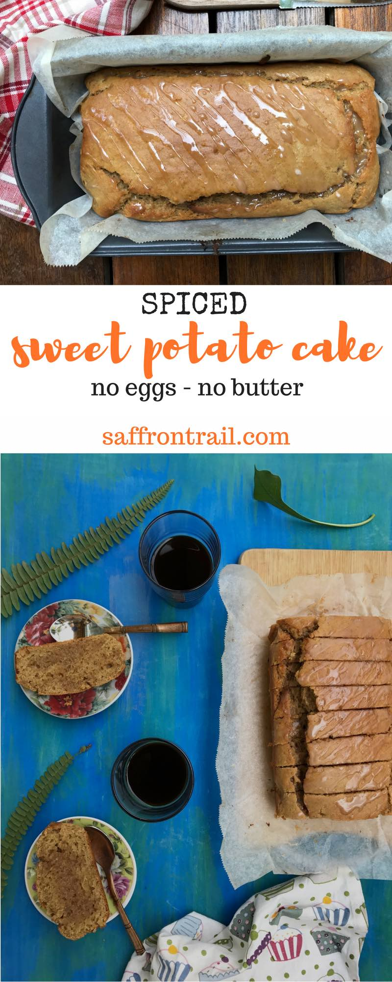 Recipe for a gently spiced, eggless sweet potato cake made in a loaf tin - perfect with that cup of tea or coffee - Moist and delicious