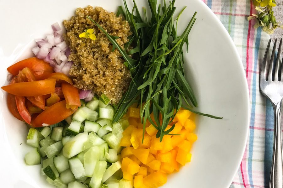 Mediterranean-quinoa-salad-with-cucumber-Italian-dressing