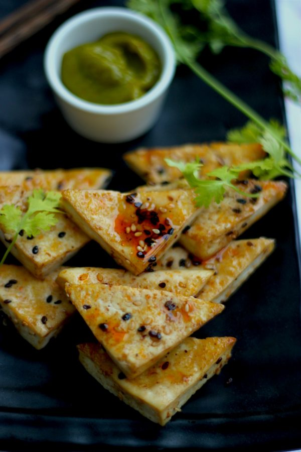 Baked Tofu with Maple Glaze with a Mango Basil Dipping Sauce