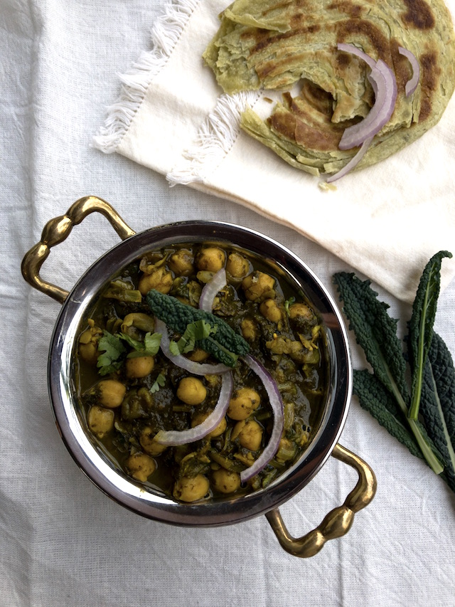 Indian style kale curry with chickpeas
