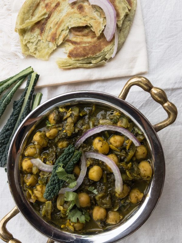 Kale and Chickpeas Curry - Kale Chole