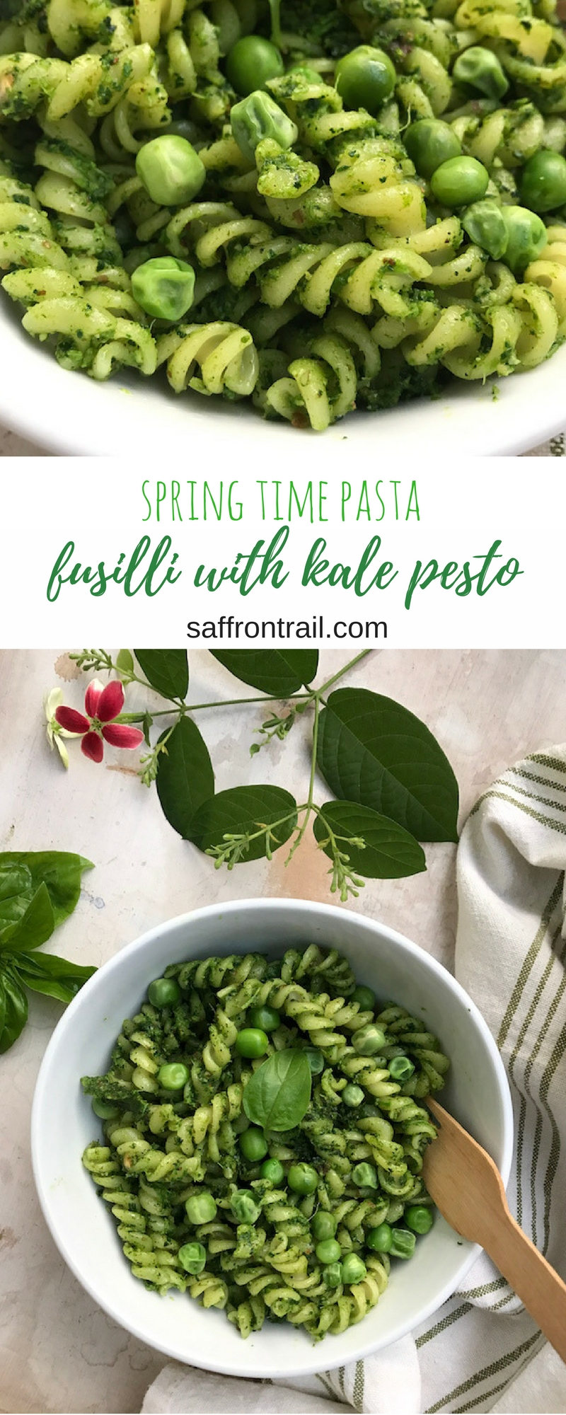 Recipe for a 5 minute vegan kale basil pesto made with garlic, roasted almonds and olive oil, just toss pasta