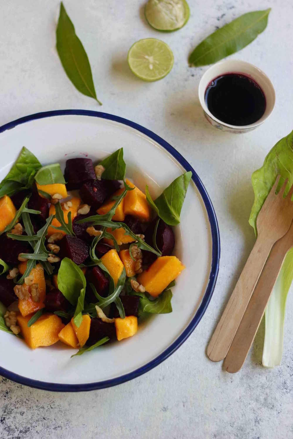 This recipe for a beet and mango salad is not just a visual feast with its contrasting colours, but also a treat for the tastebuds.
