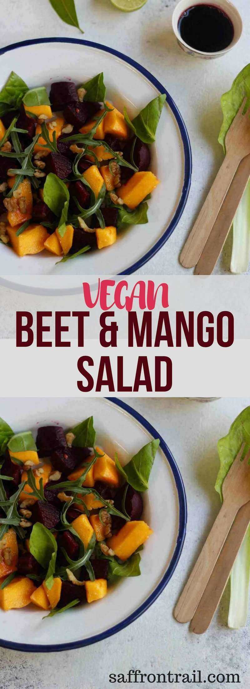 This recipe for a beet and mango salad is not just a visual feast with its contrasting colours, but also a treat for the tastebuds. The dressing is made by reducing the beet cooking liquid.