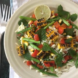 grilled corn salad with orzo