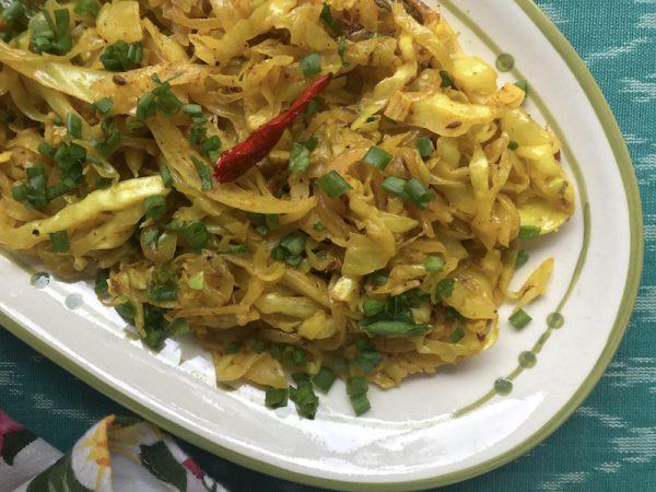Spicy Cabbage Sabzi for Rotis