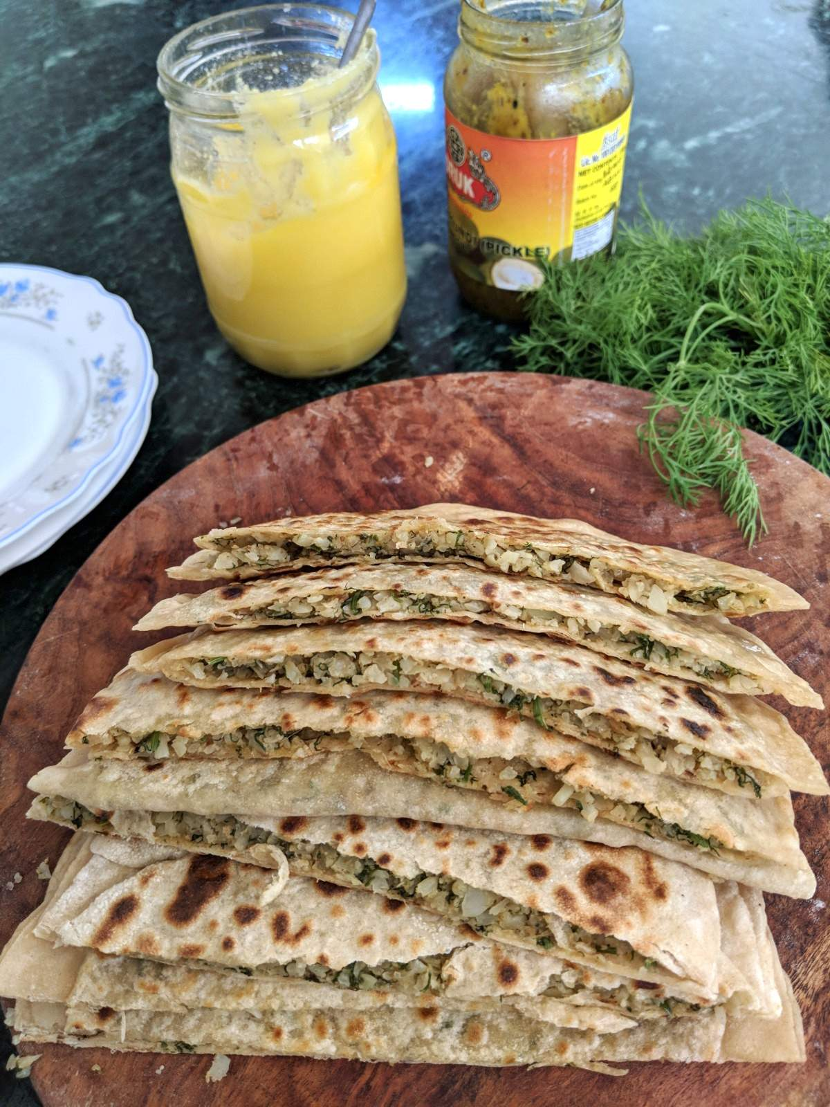 cauliflower parathas - gobhi paratha recipe with dill