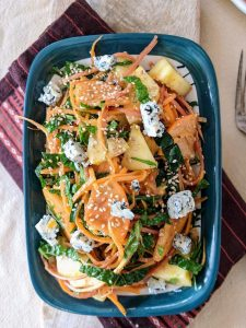 winter persimmon salad with apple, carrots, blue cheese