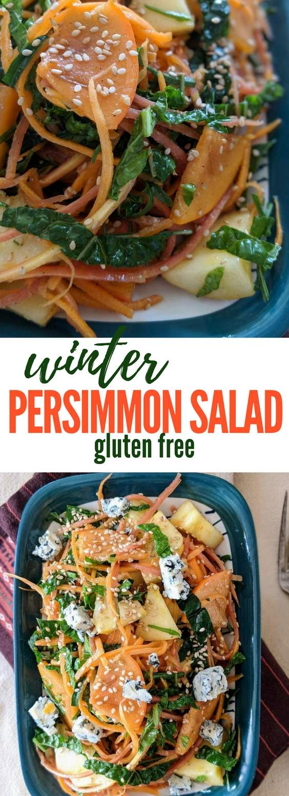 An easy persimmon salad made using seasonal winter produce - naturally gluten free and vegan option easily possible by omitting the cheese