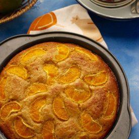mandarin orange cake made using whole wheat flour and olive oil