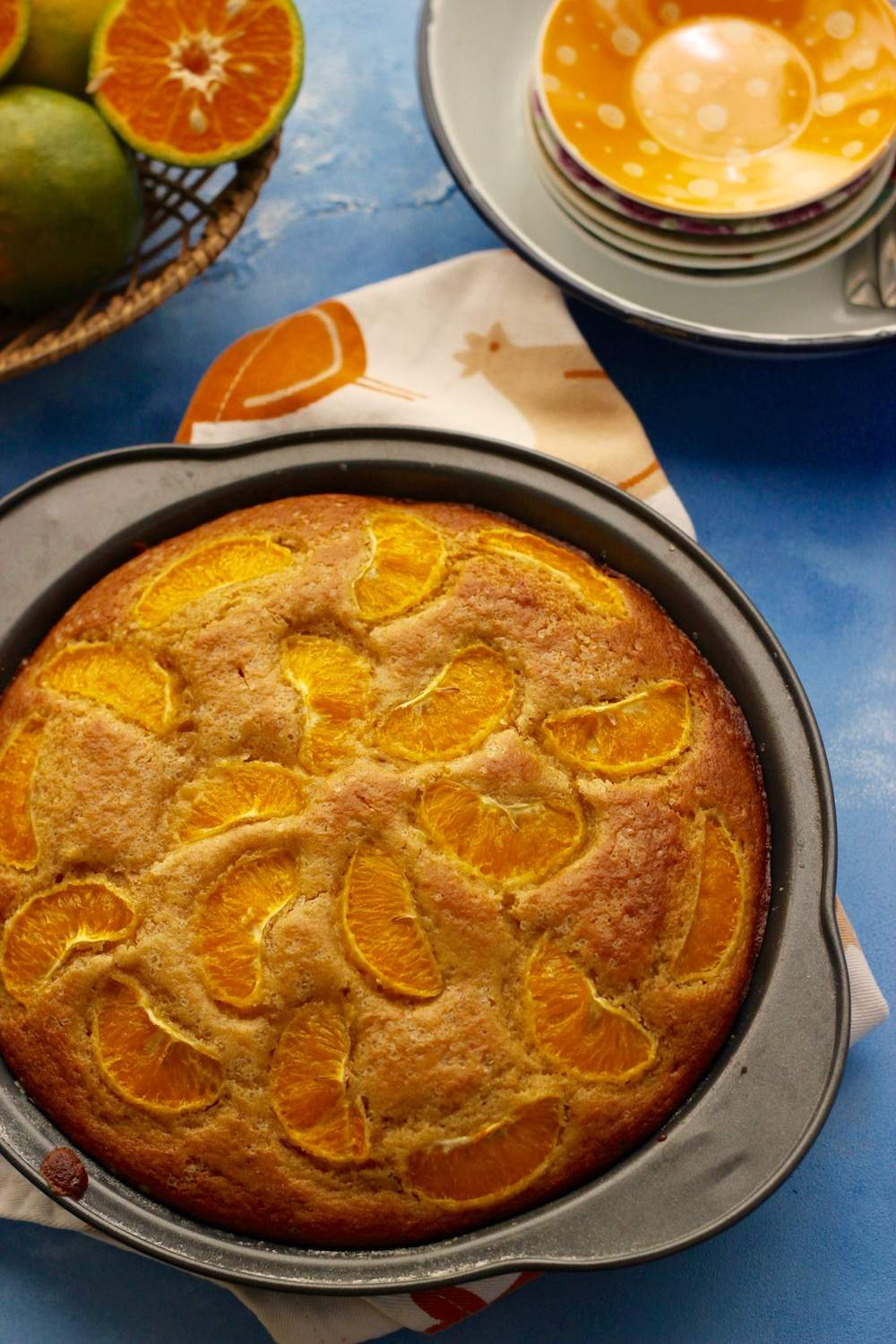 mandarin orange cake made using whole wheat flour and olive oil