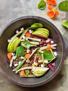 Lentil Salad with Feta + Lemon Turmeric Sunshine Dressing