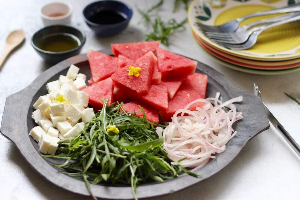watermelon feta salad platter arugula