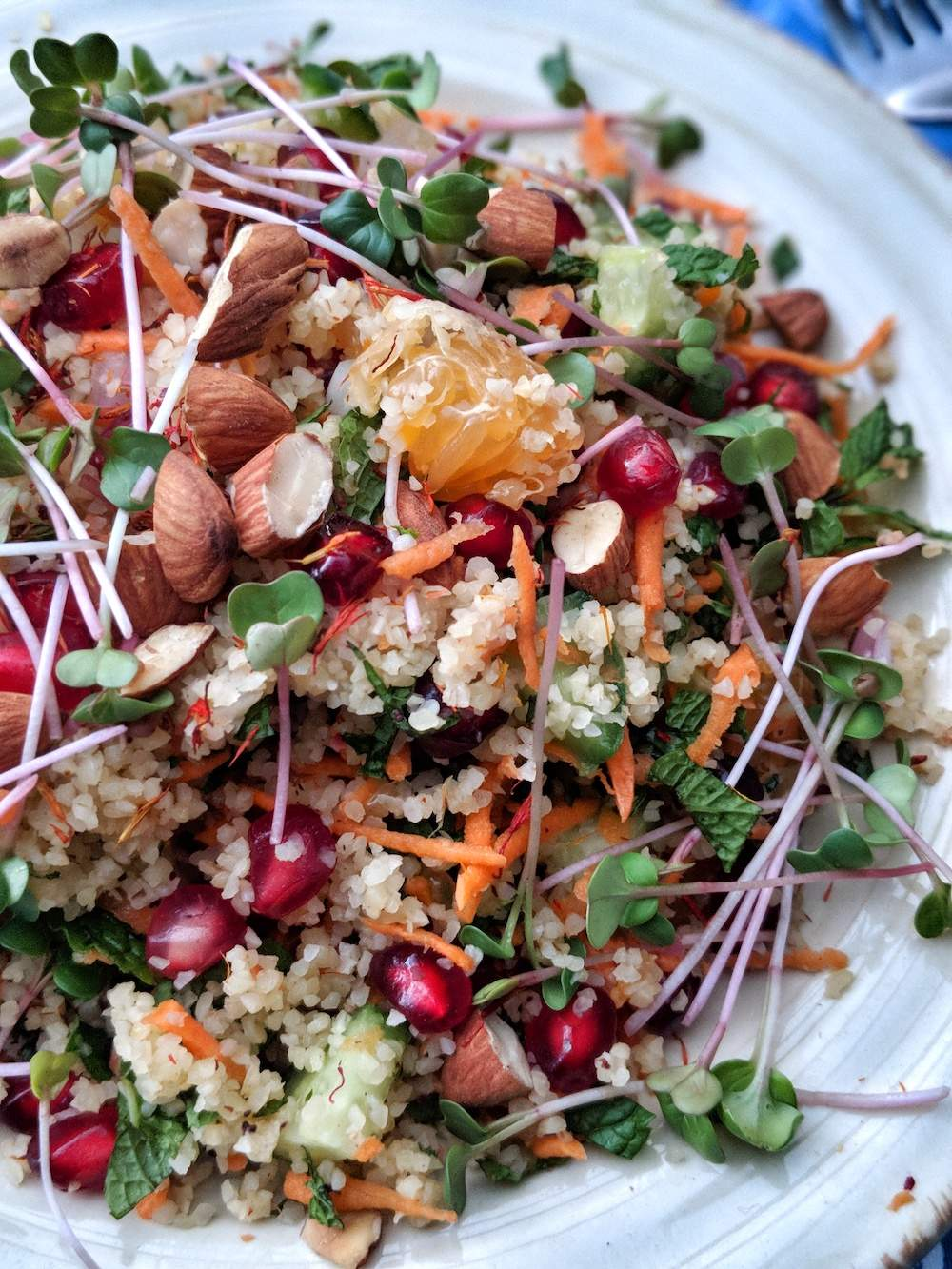 vegan rainbow bulgur salad