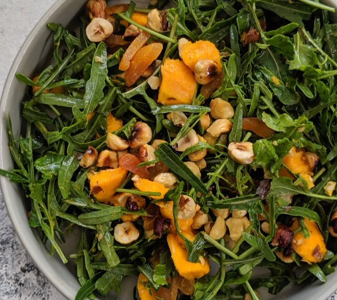 mango rocket hazelnut salad