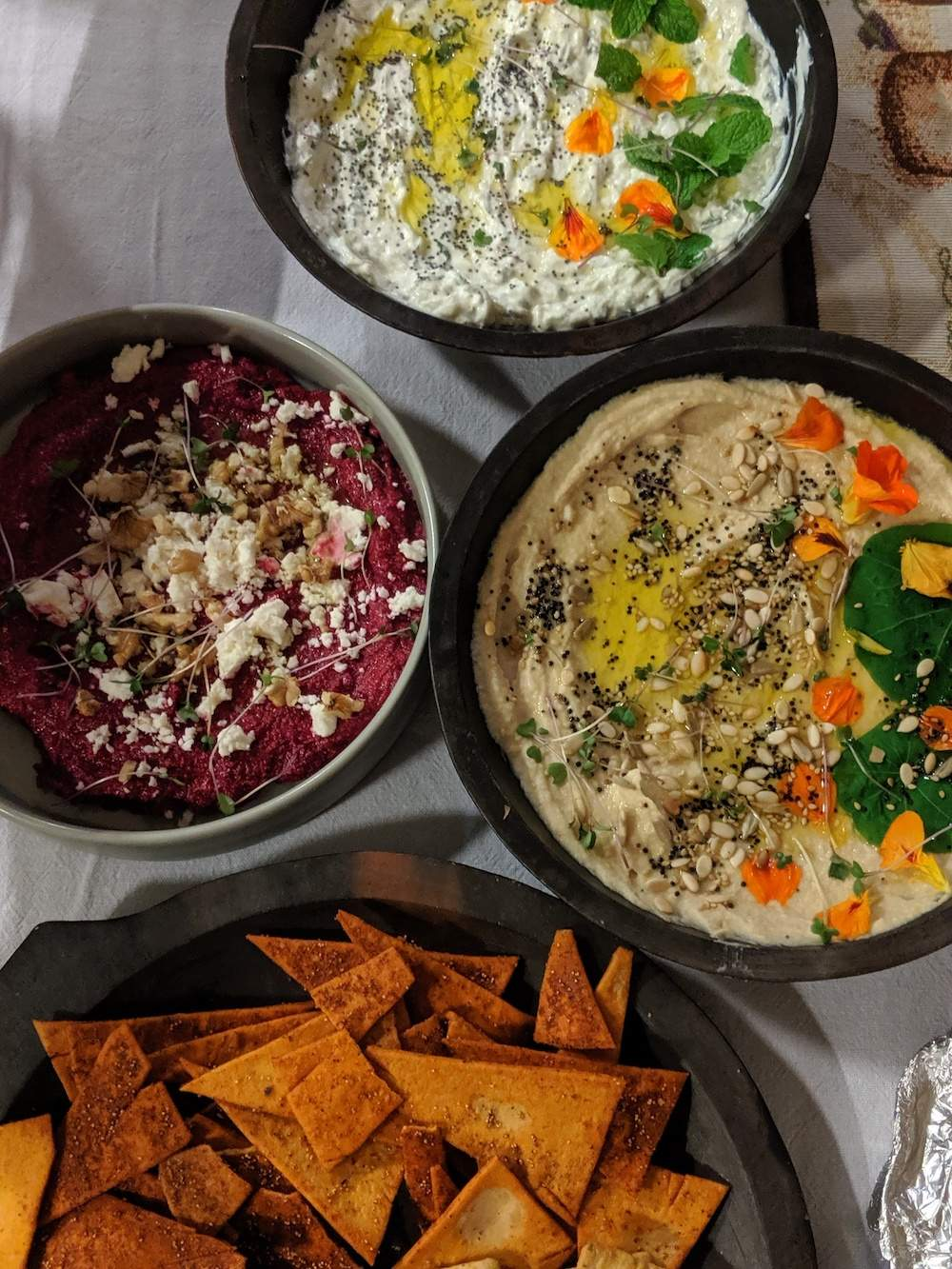 trio of dips for a party