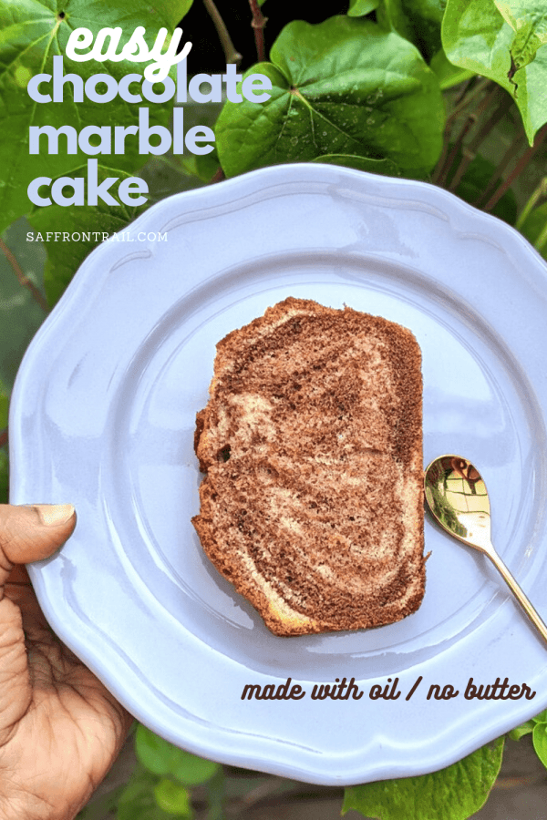 Marble Cake with Oil   Easy Chocolate Marble Cake