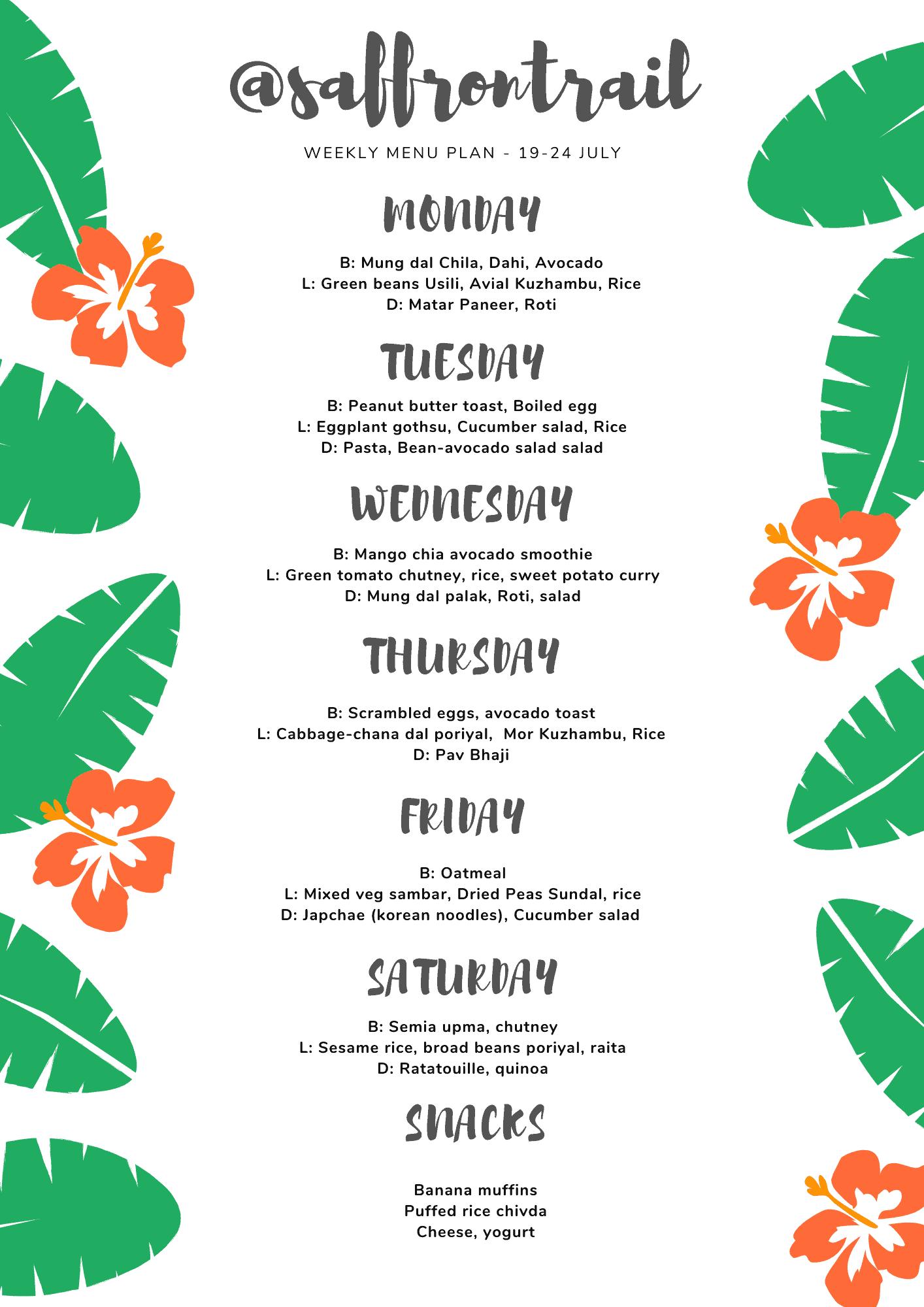 Weekly Menu Plan - Healthy Vegetarian   Saffron Trail